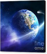 Comet Moving Passing Planet Earth Canvas Print