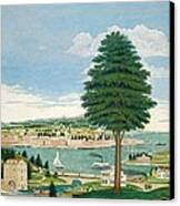 Composite Harbor Scene With Castle Canvas Print