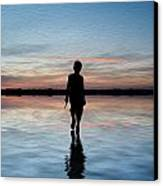 Concept Image Of Young Boy Walking On Water In Sunset Landscape Digital Painting Canvas Print by Matthew Gibson