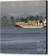 Container Ship In Halong Bay Canvas Print by Sami Sarkis