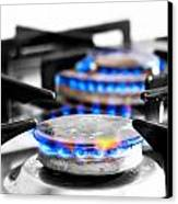 Cooker Gas Hob With Flames Burning Canvas Print by Fizzy Image