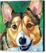 Corgi Smile Canvas Print by Lyn Cook