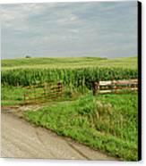 Corn Clouds Sun Rusty Gate Canvas Print by Wilma  Birdwell