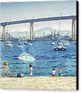 Coronado Beach And Navy Ships Canvas Print by Mary Helmreich