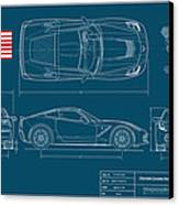 Corvette Stingray Blueplanprint Canvas Print