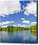 Cottage Lake With Diving Platform And Dock Canvas Print by Elena Elisseeva