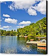 Cottages On Lake With Docks Canvas Print by Elena Elisseeva