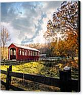 Country Covered Bridge Canvas Print by Debra and Dave Vanderlaan