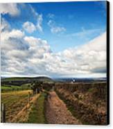 Countryside Landscape Path Leading Through Fields Towards Dramat Canvas Print by Matthew Gibson