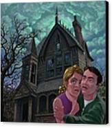 Couple Outside Haunted House Canvas Print by Martin Davey