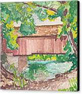 Covered Bridge Watercolor Canvas Print by Fred Jinkins