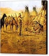 Cowboy Bargaining For The Indian Girl Canvas Print by Charles Russell