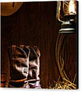 Cowboy Boots At The Ranch Canvas Print by Olivier Le Queinec