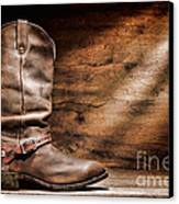 Cowboy Boots On Wood Floor Canvas Print by Olivier Le Queinec