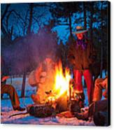 Cowboy Campfire Canvas Print by Inge Johnsson