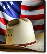 Cowboy Hat And American Flag Canvas Print by Olivier Le Queinec