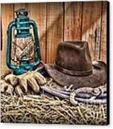 Cowboy Hat And Rodeo Lasso Canvas Print by Paul Ward