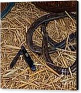 Cowboy Theme - Horseshoes And Whittling Knife Canvas Print by Paul Ward