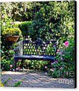 Cozy Southern Garden Bench Canvas Print by Carol Groenen