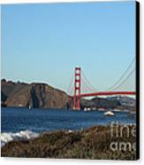 Crashing Waves And The Golden Gate Bridge Canvas Print by Linda Woods