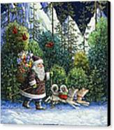 Cross-country Santa Canvas Print by Lynn Bywaters