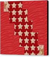 Cross Through Sparkle Stars On Red Silken Base Canvas Print by Navin Joshi