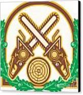 Crossed Chainsaw Timber Wood Leaf Canvas Print by Aloysius Patrimonio