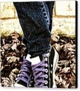 Crossed Feet Of Teen Girl Canvas Print