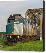 Via Train Crossing The Miramichi River Canvas Print by Steve Boyko