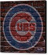 Cubs Baseball Graffiti On Brick  Canvas Print