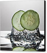 Cucumber Freshsplash Canvas Print by Steve Gadomski