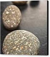Curving Line Of Speckled Grey Pebbles On Dark Background Canvas Print