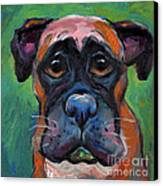 Cute Boxer Puppy Dog With Big Eyes Painting Canvas Print by Svetlana Novikova