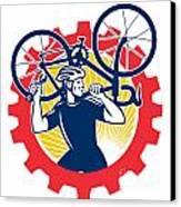 Cyclist Bicycle Mechanic Carrying Bike Sprocket Retro Canvas Print by Aloysius Patrimonio