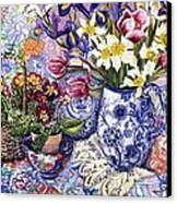 Daffodils Tulips And Iris In A Jacobean Blue And White Jug With Sanderson Fabric And Primroses Canvas Print