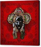 Dan Dean-gle Mask Of The Ivory Coast And Liberia On Red Leather Canvas Print by Serge Averbukh