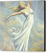 Dancing In Monet's Field Canvas Print by Lucie Bilodeau
