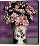 Dark Ink Vase And Flowers Canvas Print