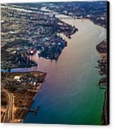 Daugawa River. Riga. Latvia. Rainbow Earth Canvas Print by Jenny Rainbow
