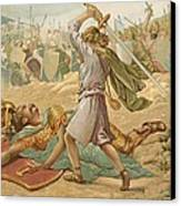 David About To Slay Goliath Canvas Print by John Lawson
