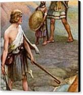 David And Goliath Canvas Print by Arthur A Dixon