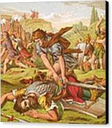 David Slaying The Giant Goliath Canvas Print by English School