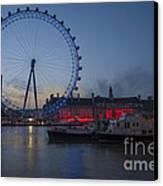 Dawn Light At The London Eye Canvas Print by Donald Davis