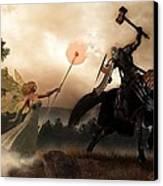 Death Knight And Fairy Queen Canvas Print by Daniel Eskridge