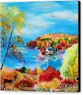 Deer And Country Church Autumn Scene Canvas Print