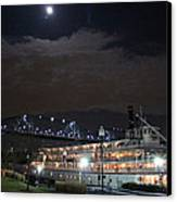 Delta Queen Under A Full Moon Canvas Print by Kathy  White