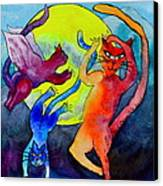 Demon Cats Dance By The Light Of The Moon Canvas Print by Beverley Harper Tinsley