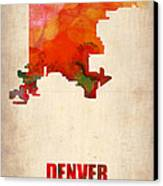 Denver Watercolor Map Canvas Print by Naxart Studio