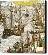 Departure From Lisbon For Brazil Canvas Print by Theodore de Bry