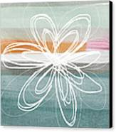 Desert Flower- Contemporary Abstract Flower Painting Canvas Print by Linda Woods